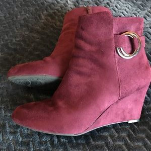 IMPO Vadison Maroon Wedge Boots, Size 10M